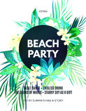Bright hawaiian design with tropical plants and hibiscus flowers Stock Photography