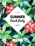 Bright hawaiian design with tropical plants and hibiscus flowers Royalty Free Stock Images