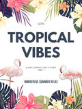 Bright hawaiian design with tropical plants and hibiscus flowers Stock Photo