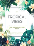 Bright hawaiian design with tropical plants and hibiscus flowers Stock Photos