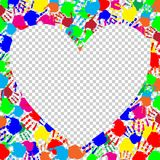 Bright heart frame with space for text and colored hand prints. Bright rainbow heart frame with empty space for text or image and colored hand print border Stock Photo