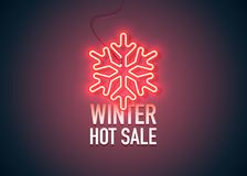 Wntr hot sale 3. Bright heart. Neon sign. Retro neon Winter Hot Sale sign on purple background. Design element for your discount proposition. Ready for your stock illustration