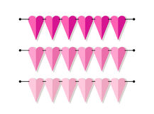 Bright heart shaped banner as bunting flags in flat style Royalty Free Stock Photos