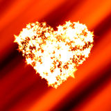 Bright heart of shining stars on red Valentine. Heart shape copy space made of bright shining stars on a red Valentine background Royalty Free Stock Photos