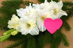 Bright heart and white gladiolus. Bright heart, white gladiolus and branches of spruce Royalty Free Stock Photography
