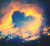 Bright Heaven in a sunset, shape of Heart Royalty Free Stock Image