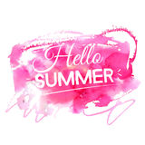 Bright hello summer illustration. Text on artistic Stock Image