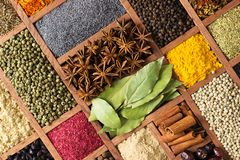 Bright herbs and spices in wooden trays on shop window. Set seasonings for cooking, in box with cells. Spices and herbs for decorating food labels . Seasoning in stock photos