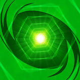 Bright Hexagons Background Shows Geometrical And Brightness. Green Light Background Showing Hexagons And Brightness Stock Image