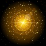 Bright high-quality gold pattern with the effect of sunlight, perfect for the New Year and Christmas. Designed to set a bright len Stock Photo