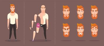 Bright hipster character. set of elements for animation stock illustration