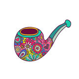 Bright hipster smoking pipe painted with patterns. Hand Drawn Fashion Illustration Stock Images
