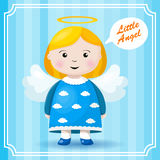 Bright holiday background with small funny angel stock illustration