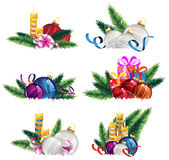 Bright holiday decoration elements. Set of Christmas and New Years decoration elements isolated on a white background Stock Photos
