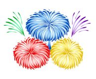 Bright holiday firework design, stock vector illustration. Eps 10 Stock Photos