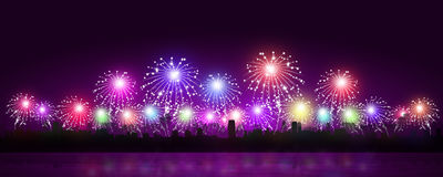 Bright Holiday Fireworks Royalty Free Stock Photography