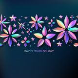 Bright Holographic Flowers. Happy Womens Day. International 8 March. Trendy Mothers Day. Modern Paper cut Futuristic. Floral Greetings card. Trendy Spring stock illustration