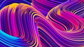 Bright holographic fluid shapes 3D abstract background Stock Illustration