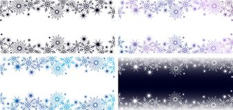 2 bright horizontal blue banners with snowflakes and stars for a winter or Christmas design. Bright horizontal blue and purple banners with snowflakes and stars royalty free illustration