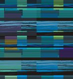 Bright horizontal lines forming rectangles. In black, blue, violet, beige and green a seamless pattern on a black background Stock Photos