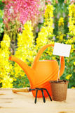 Bright horticultural still life in a flower garden Royalty Free Stock Images