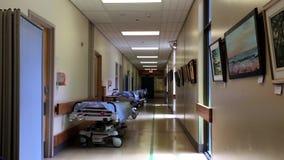 Bright hospital corridor view