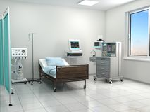 Bright hospital room with equipment. 3d illustration Stock Photo