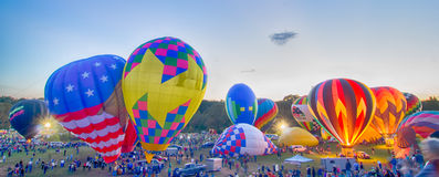 Bright Hot Air Balloons Glowing Royalty Free Stock Photos