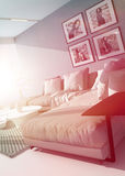 Bright hot living room interior Stock Image
