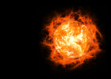 Bright hot planet on a dark backgrounds Stock Photo