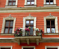 Bright house with a balcony. Unique architecture of Lviv. Royalty Free Stock Photo