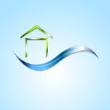 Bright house logo and wave design Stock Photo
