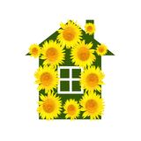 Bright house  with yellow sunflowers on a white background Royalty Free Stock Photo