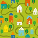 Bright houses pattern. Vector hand drawn seamless pattern. Houses, trees, roads royalty free illustration