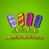 Bright ice cream on a stick on a green background Stock Photos