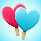 Bright ice cream on a stick. Bright vector heart shaped ice cream on a wooden stick, love sweet snack food; two object for frost poster design Stock Images