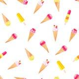 Bright icecream cones on white watercolor seamless vector pattern. Bright icecream cones on white seamless vector pattern Royalty Free Stock Image