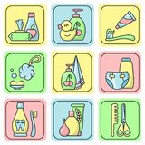 Bright icons set of baby hygiene accessories. Cartoon style vector illustration stock illustration