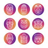 Bright icons with white african tribal vodoo masks. Of set. Vector illustration Royalty Free Stock Images