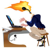 Bright idea. Employee cartoon working on laptop with bright idea as burning match with flame instead head Royalty Free Stock Photos