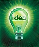 Bright Idea. Digital concept illustrated with an illuminated light bulb and idea in center Stock Photo