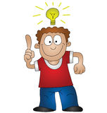 Bright idea. Cartoon man with bright idea isolated on white background Stock Images