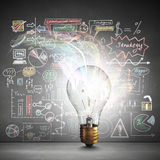 Bright idea for business growth stock images