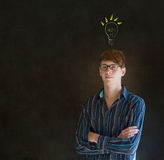 Bright idea lightbulb thinking business man Stock Image