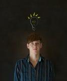 Bright idea lightbulb thinking business man Royalty Free Stock Photo