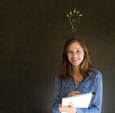 Bright idea lightbulb thinking business woman Stock Photos