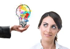 Bright idea colleague. Colleague at work suggests a bright idea Royalty Free Stock Photography