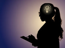 The bright idea concept with light bulb and woman Royalty Free Stock Images