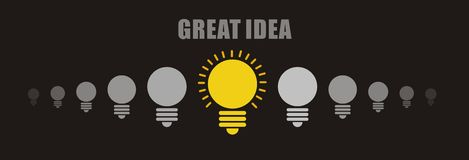 Bright idea concept: on and off light bulbs in row with copy space Royalty Free Stock Images