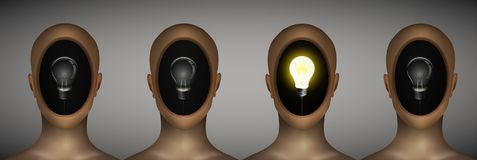 Bright idea concept, row of man heads with bulb inside and one in shine, be creative, Royalty Free Stock Photos